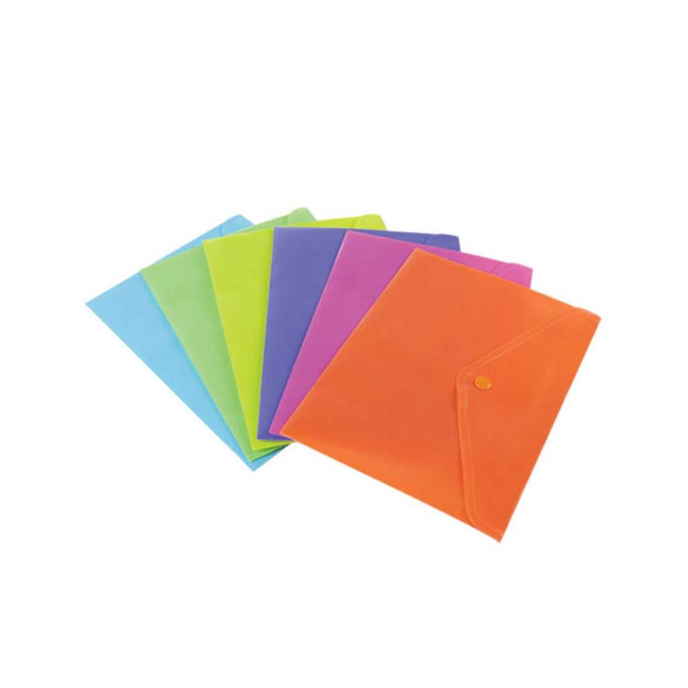Buste A4 in PP con bottone 6 pezzi colori assortiti fluo