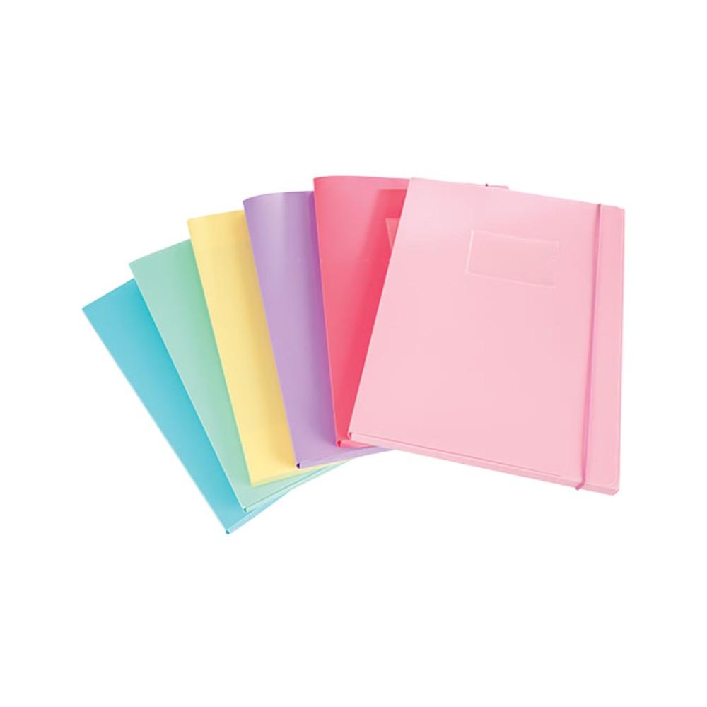 Cartella con elastico in PPL dorso 3,5 cm. Colori Pastello