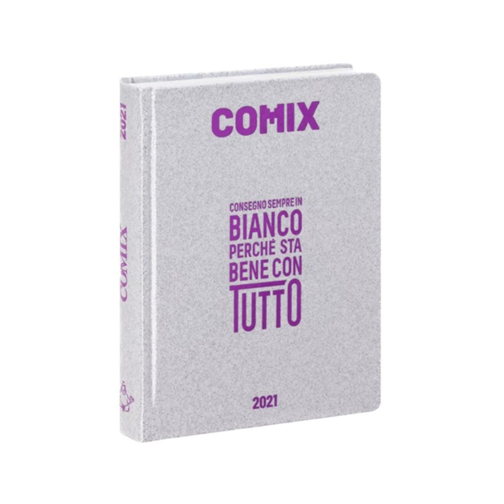 Diario Comix Mignon 16 mesi Argento con scritta Fucsia