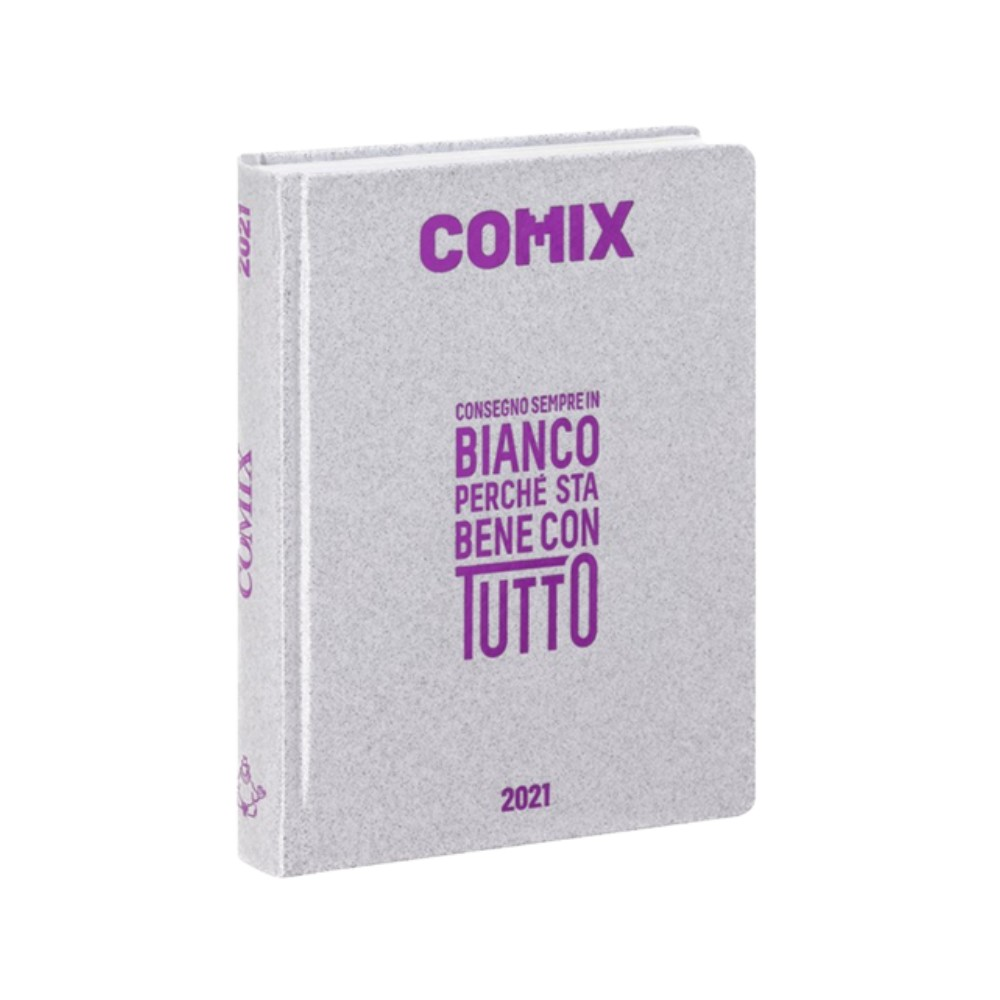 Diario Comix Standardl 16 mesi Argento con scritta Fucsia